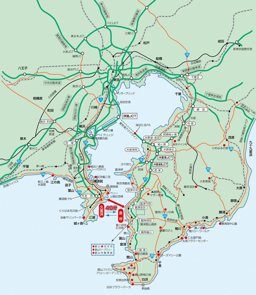 東京湾フェリー航路マップ