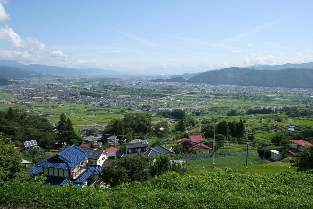 姨捨駅から眺める善光寺平の風景