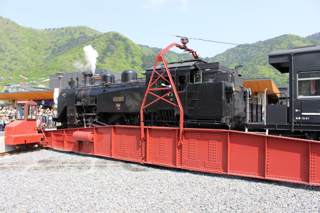 SL大樹は人気列車! 転車台での回転も一大イベントです!