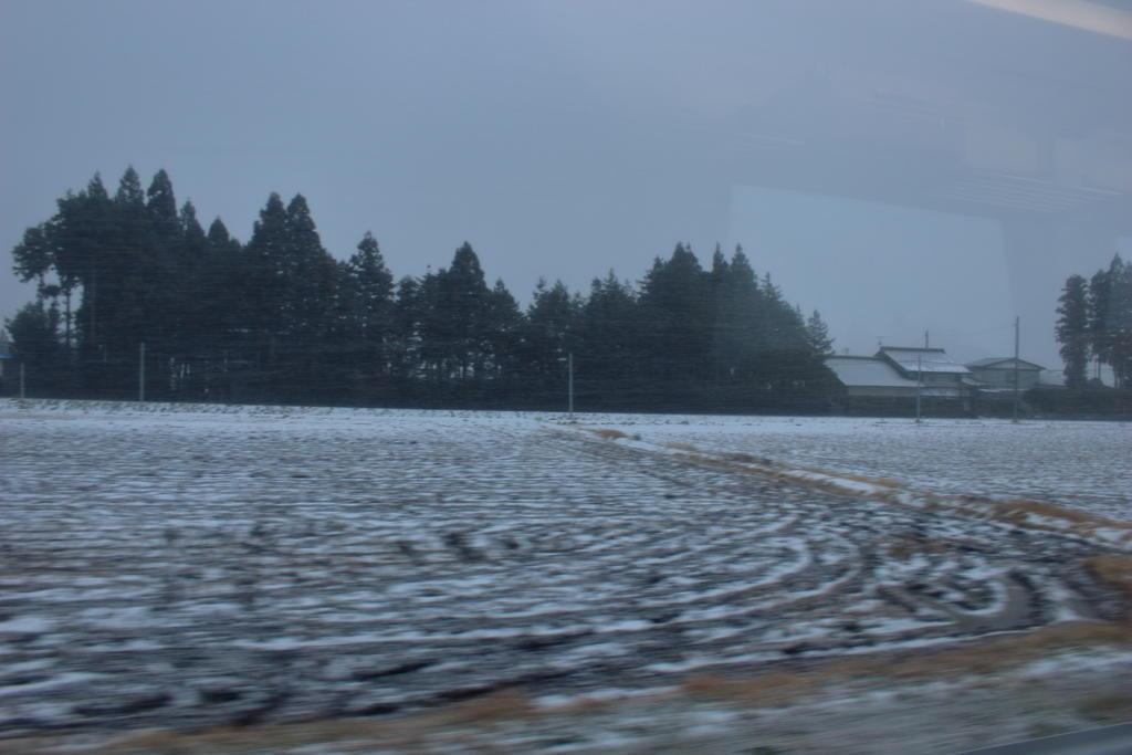 急に曇ってきて雪が激しく降ってきました