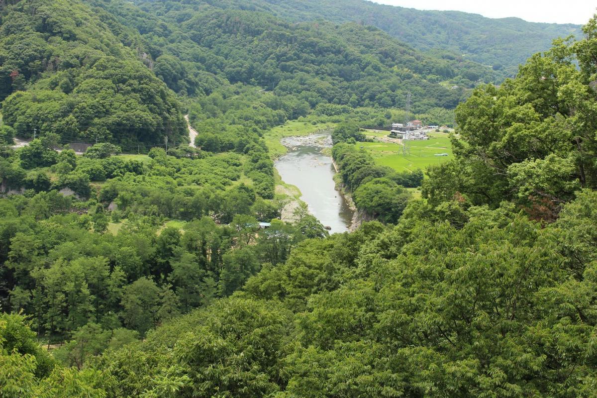 水の手展望台からは蛇行する千曲川を一望できます
