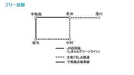 「四万十・宇和海フリーきっぷ」のフリーエリア(JR四国のWebサイトより)