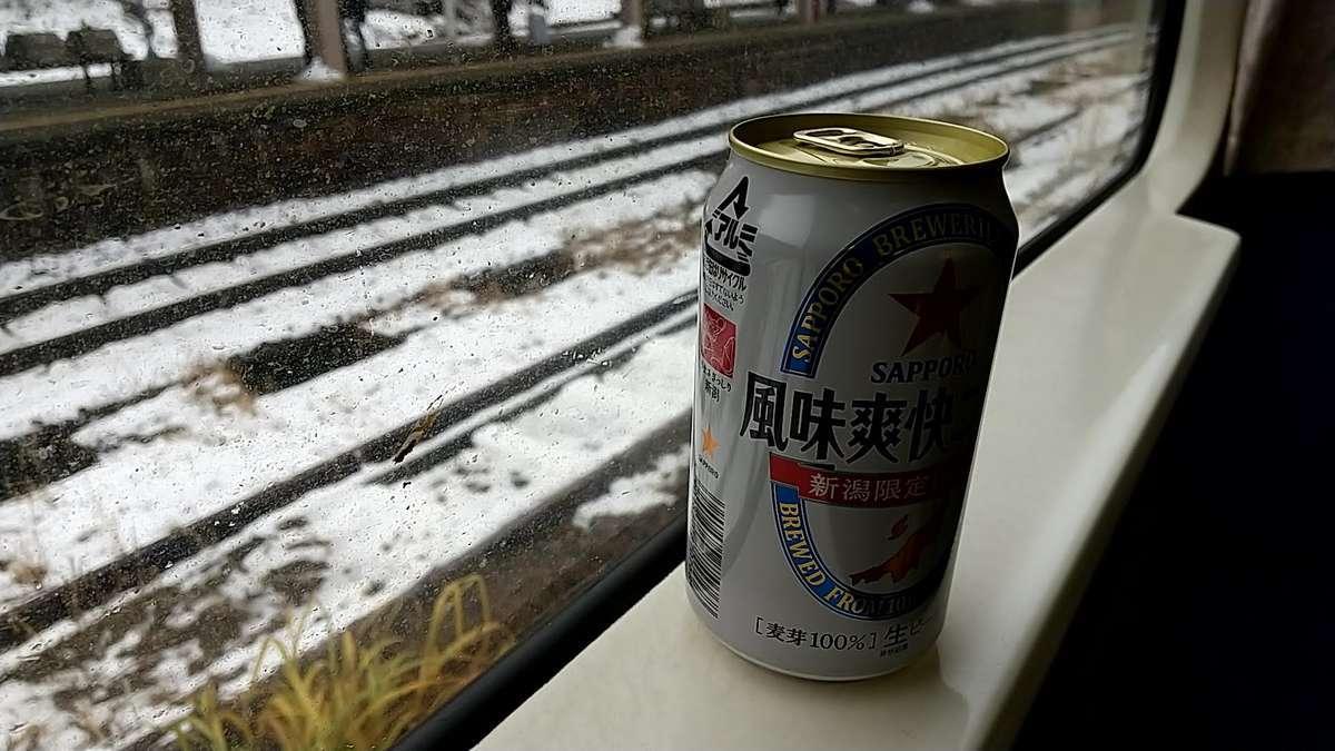 ビールを開けて雪見酒!
