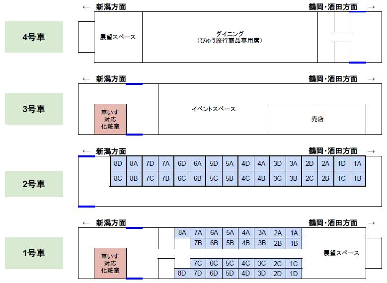 「海里」の座席表(座席番号は1号車、2号車のみ記載)