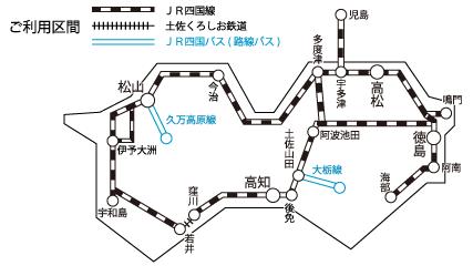 「四国フリーきっぷ」のフリーエリア
