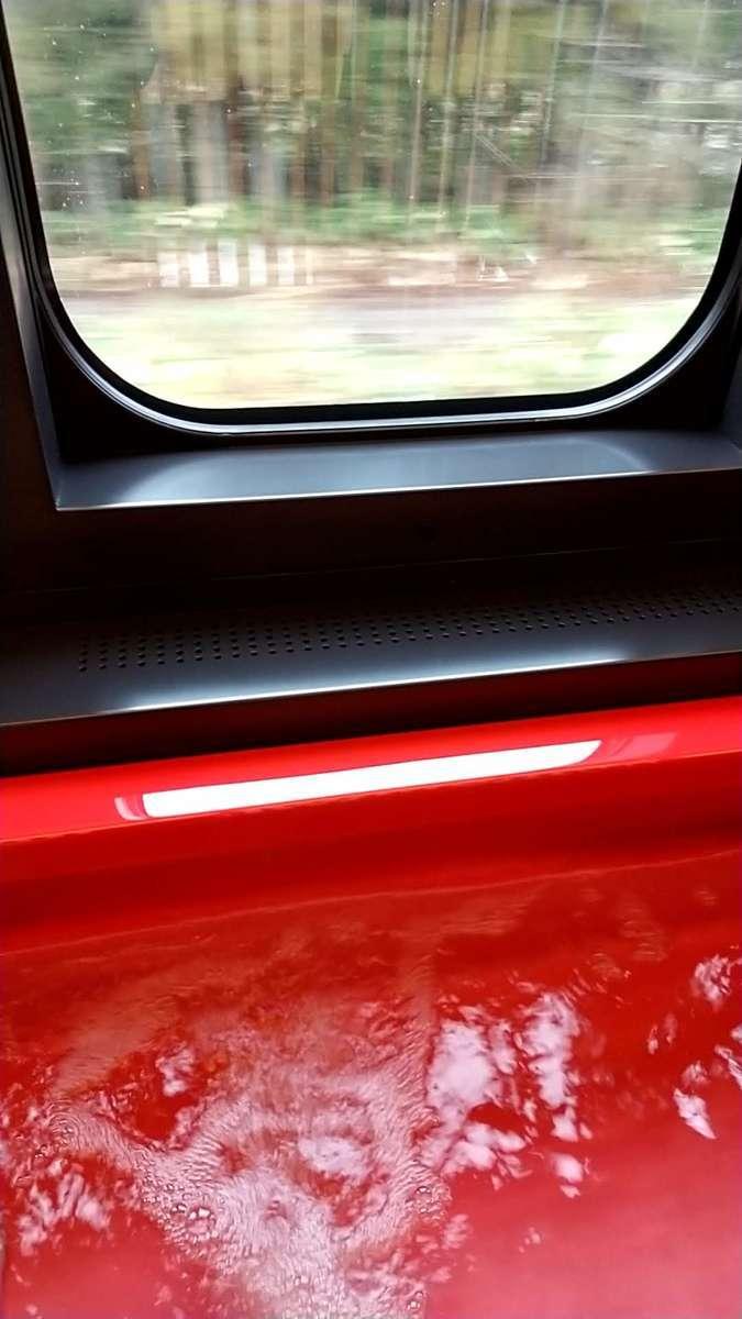 車窓を見ながら足湯につかる新鮮な体験!