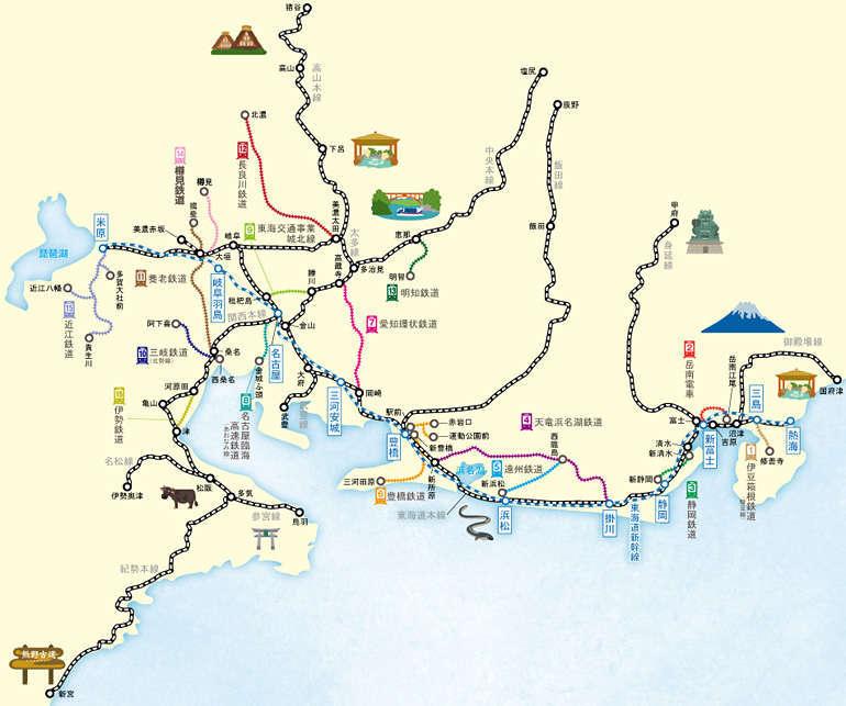 JR東海&16私鉄 乗り鉄☆たびきっぷ」のフリーエリア(JR東海のWebサイトより)