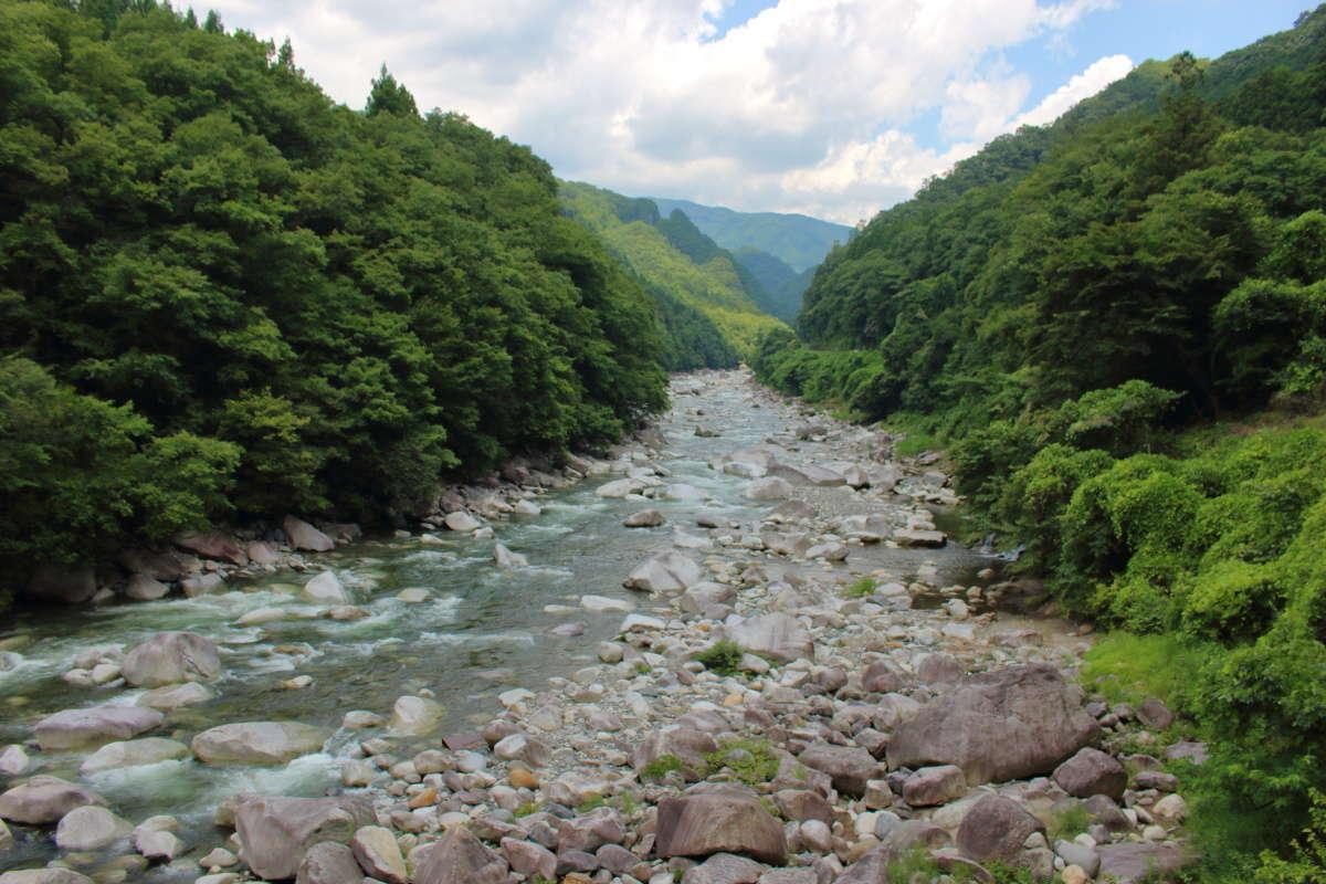 「トロッコわっしー号」から眺める渡良瀬川の渓谷美