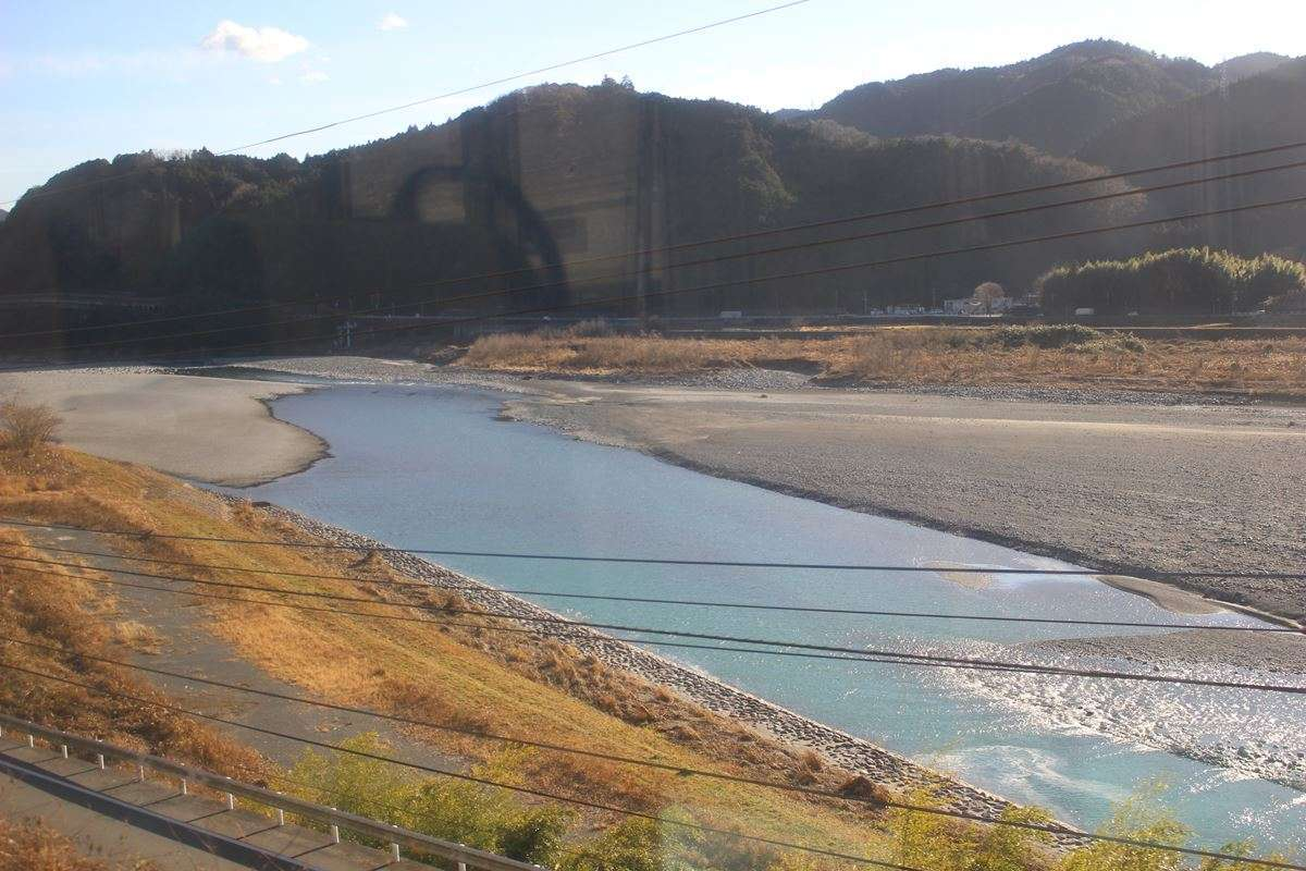 身延線の相棒?富士川を車窓に