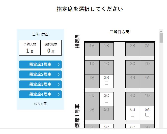 「秩父鉄道SL予約システム」のシートマップ