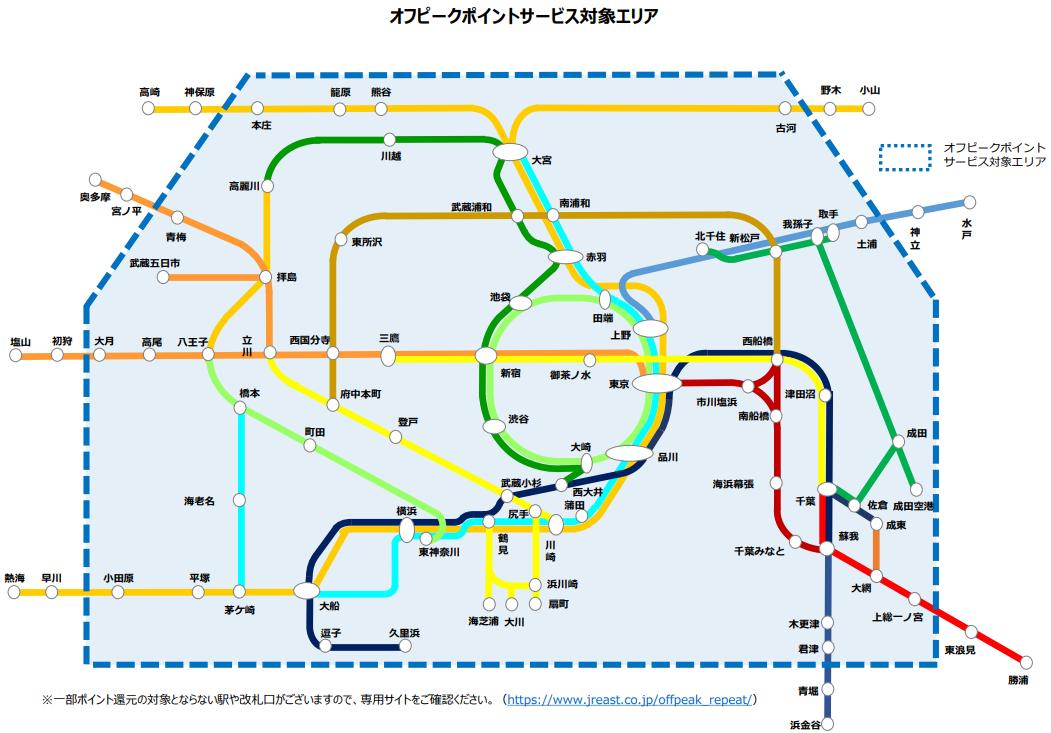 「オフピークポイントサービス」の対象エリア(JR東日本のニュースリリースより)