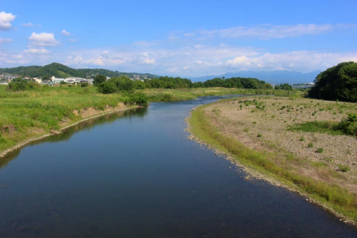 佐野のわたし駅付近で烏川を渡る